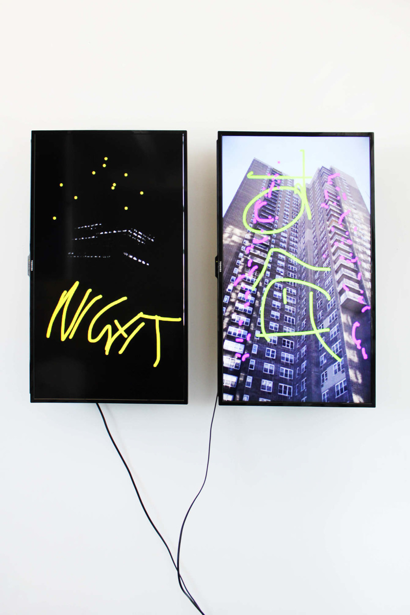 "Mark John Smith, ""Flat (Night to Let)"", 2015 JPEGs on two 39'' 1080p LED flat panel monitors tilted 90 degrees, on wall"