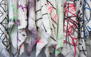 Mark John Smith, view of spray painted IKEA Duvet covers
