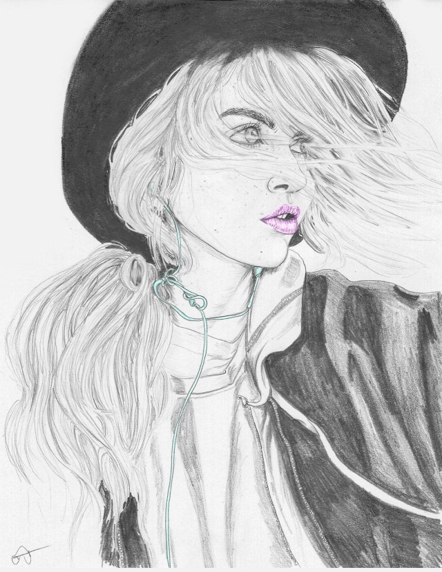 girlfacewithhatipodandwindinhairsketch1color
